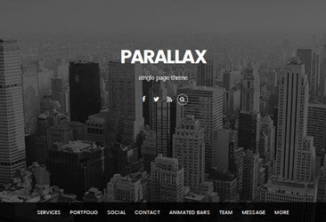 ビジネスとポートフォリオのためのフライインアニメーションの単一ページのテーマでParallaxスクロール。